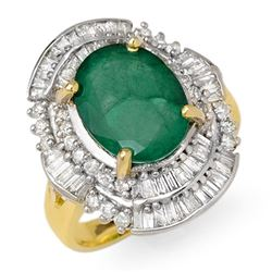 5.95 CTW Emerald & Diamond Ring 14K Yellow Gold - REF-118Y4X - 12963