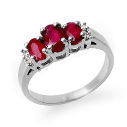 1.18 CTW Ruby & Diamond Ring 18K White Gold - REF-43N3A - 13209
