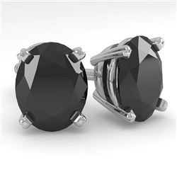 10 CTW Oval Black Diamond Stud Designer Earrings 14K White Gold - REF-216K2W - 38398