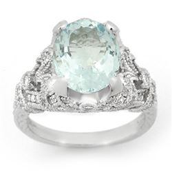 6.10 CTW Aquamarine & Diamond Ring 14K White Gold - REF-148H5M - 14518