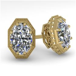 1.0 CTW VS/SI Oval Cut Diamond Stud Solitaire Earrings 18K Yellow Gold - REF-169W3H - 35959