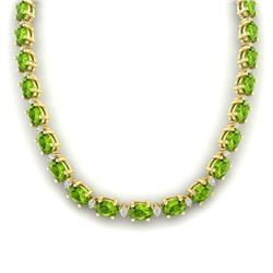 46.5 CTW Peridot & VS/SI Certified Diamond Eternity Necklace 10K Yellow Gold - REF-275X3R - 29430