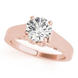 1 CTW Certified VS/SI Diamond Solitaire Wedding Ring 18K Rose Gold - REF-301M4F - 27784