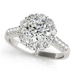 1.75 CTW Certified VS/SI Diamond Solitaire Halo Ring 18K White Gold - REF-244M5F - 26284