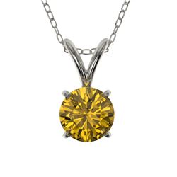 0.56 CTW Certified Intense Yellow SI Diamond Solitaire Necklace 10K White Gold - REF-70X5R - 36734
