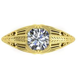 1 CTW Solitaire Certified VS/SI Diamond Ring 14K Yellow Gold - REF-279H2M - 38534