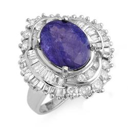 6.0 CTW Tanzanite & Diamond Ring 18K White Gold - REF-287W6H - 13961