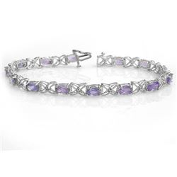 8.65 CTW Tanzanite & Diamond Bracelet 18K White Gold - REF-153Y3X - 13908
