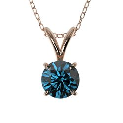 0.51 CTW Certified Intense Blue SI Diamond Solitaire Necklace 10K Rose Gold - REF-51F2N - 36727