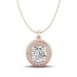 1.25 CTW VS/SI Diamond Solitaire Art Deco Stud Necklace 18K Rose Gold - REF-218M2F - 37143