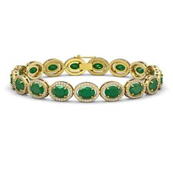22.89 CTW Emerald & Diamond Bracelet Yellow Gold 10K Yellow Gold - REF-291Y5X - 40603