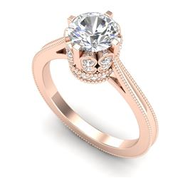 1.50 CTW VS/SI Diamond Art Deco Ring 18K Rose Gold - REF-399K3W - 36831