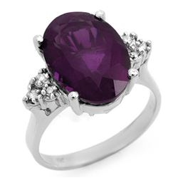 5.15 CTW Amethyst & Diamond Ring 18K White Gold - REF-58W5H - 12934