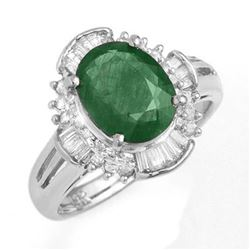 3.08 CTW Emerald & Diamond Ring 18K White Gold - REF-96M7F - 13255