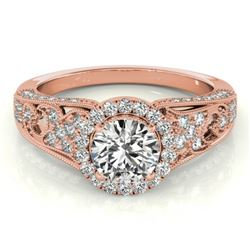 1.25 CTW Certified VS/SI Diamond Solitaire Halo Ring 18K Rose Gold - REF-238K2W - 26573