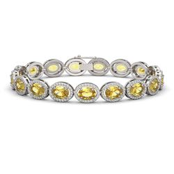 20.36 CTW Fancy Citrine & Diamond Bracelet White Gold 10K White Gold - REF-246X7R - 40643