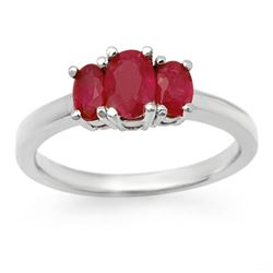 1.0 CTW Ruby Ring 18K White Gold - REF-40Y9X - 13713
