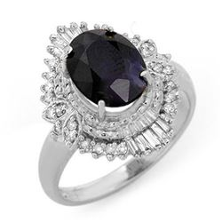 3.01 CTW Blue Sapphire & Diamond Ring 18K White Gold - REF-74A4V - 13115