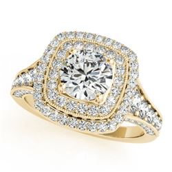 1.65 CTW Certified VS/SI Diamond Solitaire Halo Ring 18K Yellow Gold - REF-180M9F - 26469