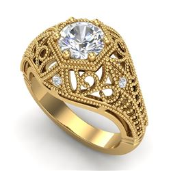 1.07 CTW VS/SI Diamond Solitaire Art Deco Ring 18K Yellow Gold - REF-322K5W - 36919