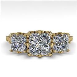 2 CTW Past Present Future Certified VS/SI Princess Diamond Ring 18K Yellow Gold - REF-414M2F - 35785