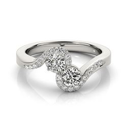 1.25 CTW Certified VS/SI Diamond 2 Stone 2 Stone Ring 18K White Gold - REF-225A5V - 28201