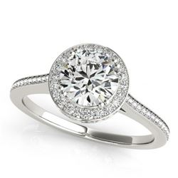 1.55 CTW Certified VS/SI Diamond Solitaire Halo Ring 18K White Gold - REF-412F5N - 26365