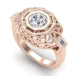 1.13 CTW VS/SI Diamond Solitaire Art Deco Ring 18K Rose Gold - REF-360A2V - 37047
