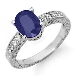 2.58 CTW Blue Sapphire & Diamond Ring 14K White Gold - REF-49W6H - 14355