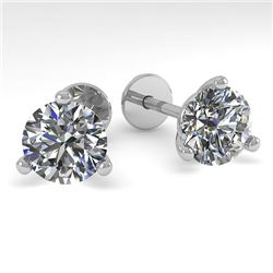 2.0 CTW Certified VS/SI Diamond Stud Earrings Martini 14K White Gold - REF-525N7A - 38317