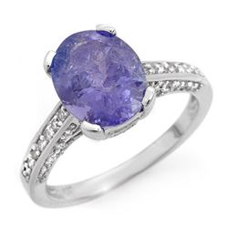 4.50 CTW Tanzanite & Diamond Ring 18K White Gold - REF-148W2H - 14415