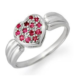0.40 CTW Pink Sapphire Ring 18K White Gold - REF-38W2H - 13646
