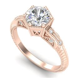 1.17 CTW VS/SI Diamond Solitaire Art Deco Ring 18K Rose Gold - REF-381W8H - 37215