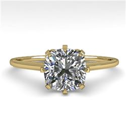 1.0 CTW Certified VS/SI Cushion Diamond Engagement Ring 18K Yellow Gold - REF-317N3A - 35755
