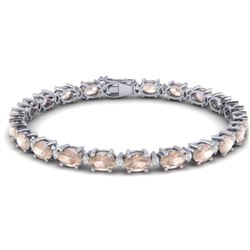 21.2 CTW Morganite & VS/SI Certified Diamond Eternity Bracelet 10K White Gold - REF-290V2Y - 29455