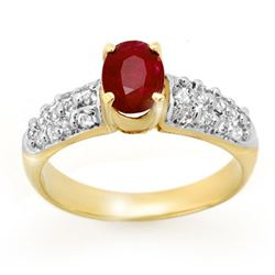 1.50 CTW Ruby & Diamond Ring 10K Yellow Gold - REF-52H7M - 13368