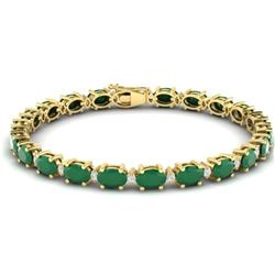 23.5 CTW Emerald & VS/SI Certified Diamond Eternity Bracelet 10K Yellow Gold - REF-143M6F - 29367