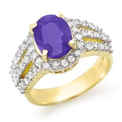 4.70 CTW Tanzanite & Diamond Ring 14K Yellow Gold - REF-152K7W - 14344
