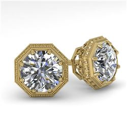 1.50 CTW Certified VS/SI Diamond Stud Earrings 18K Yellow Gold - REF-311F3N - 35968