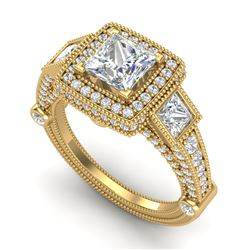 3 CTW Princess VS/SI Diamond Solitaire Art Deco 3 Stone Ring 18K Yellow Gold - REF-563X6R - 37135