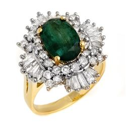 3.90 CTW Emerald & Diamond Ring 14K Yellow Gold - REF-143M6F - 13284