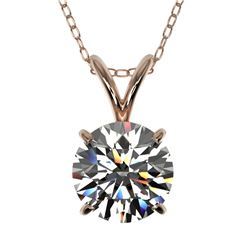 1.30 CTW Certified H-SI/I Quality Diamond Solitaire Necklace 10K Rose Gold - REF-240N2A - 36783