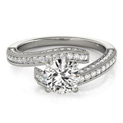 1.50 CTW Certified VS/SI Diamond Bypass Solitaire Ring 18K White Gold - REF-228K4W - 27771