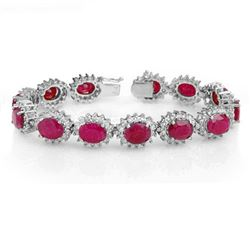 42.12 CTW Ruby & Diamond Bracelet 14K White Gold - REF-618H2M - 14054