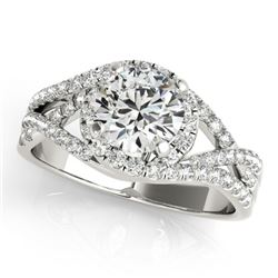 1.25 CTW Certified VS/SI Diamond Solitaire Halo Ring 18K White Gold - REF-242M4F - 26605