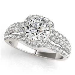 1.75 CTW Certified VS/SI Diamond Solitaire Halo Ring 18K White Gold - REF-252M7F - 26745