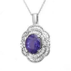 5.60 CTW Tanzanite & Diamond Pendant 18K White Gold - REF-246R5K - 13997