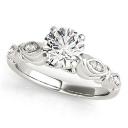 0.60 CTW Certified VS/SI Diamond Solitaire Antique Ring 18K White Gold - REF-115A3V - 27345