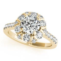 1.55 CTW Certified VS/SI Diamond Solitaire Halo Ring 18K Yellow Gold - REF-175M8F - 26669