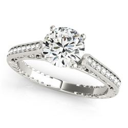 0.65 CTW Certified VS/SI Diamond Solitaire Antique Ring 18K White Gold - REF-113W6H - 27369